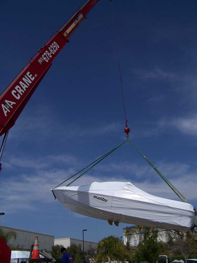 A second picture of our crane lifting a boat.
