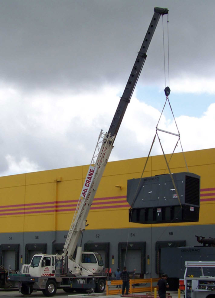 A picture of our 40 ton crane lifting a generator for March Air Force Base.