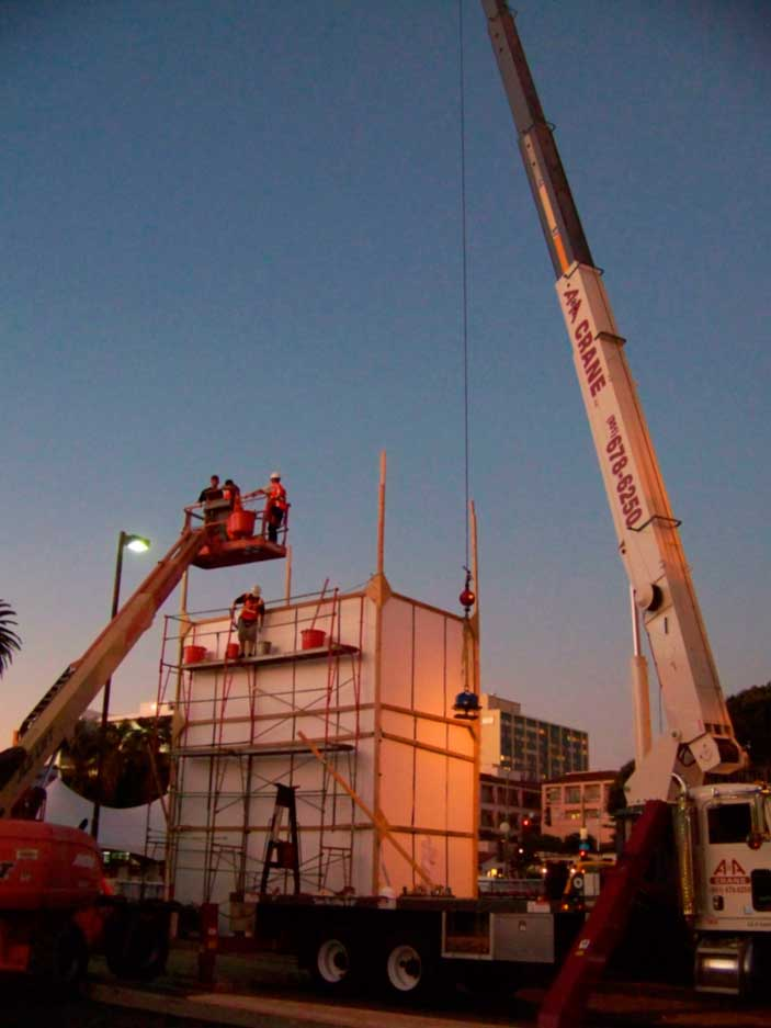 Another picture of our 40 ton crane lifting an ice sculpture of scrat.