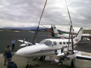 A picture of our crane lifting a plane that crashed.