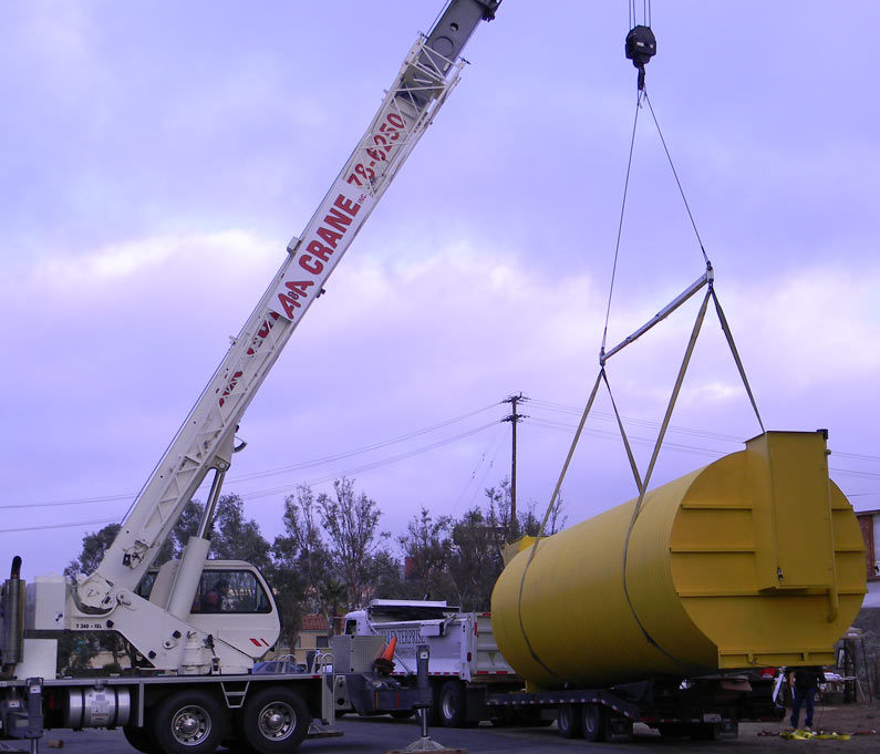 Doomsday bunker being lifted with 40 ton crane.