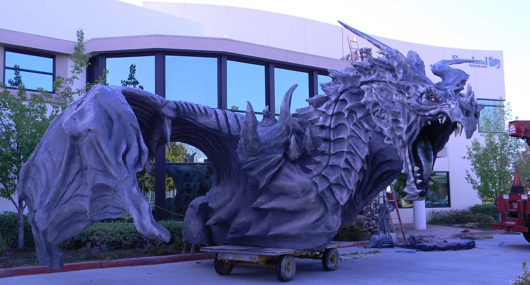 Our crane lifting a special effects foam dragon for foamworks.